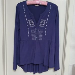Bohemian embroidered purple blouse